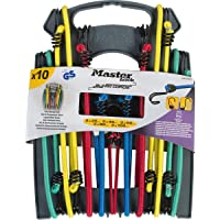 MASTER LOCK 10-pack Bungee cords [2x25cm, 2x45cm, 2x60cm, 2x80cm, 2x100cm] - 3043EURDAT - For camping, Loads on bicycles, House moving