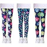 L SERVER Niñas Leggings Estampados Elásticos Primavera Otoño Pantalones Deportivos Cómodos para Niñas Paquete de 3 Coloridos