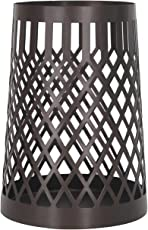 Homebeez Decorative Metal Candle Holder, Weave Basket Style, Black