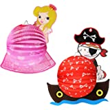 com-four/® 2x lantern with colorful princess and pirate motif paper lantern for santa martin and halloween martins lantern for kids