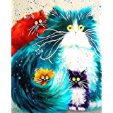 """iCoostor Paint By Numbers DIY Acrylic Painting Kit For Kids & Adults Beginner – 16"""" x 20"""" Four Color Cat Pattern With 3 Brush"""