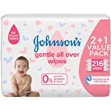 Johnson's Gentle All Over Baby Wipes, 216 Wipes - Pack of 1, GI24090752