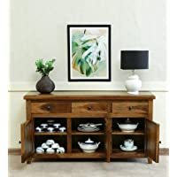 MARWAD CRAFTING Sheesham Wood Sideboard for Living Room Kitchen Chest of Drawer with 3 Drawers Storage and Cabinet…