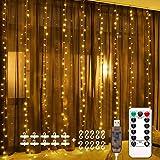 Luces de Cadena de Cortina USB, 3m*3m 300 LED 8 Modos de Luz con Control Remoto, Impermeable, Cadena de Luces Decoración de C