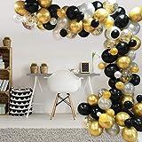 AivaToba Balony w kolorze czarno-złotym i białym, girlanda balonowa, zestaw czarno-złoty, biały, dla pań, panów, na urodziny,