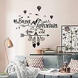 decalmile Pegatinas de Pared Frases BE Brave Seek Adventure Vinilos Decorativos Letras Montañas Negro Adhesivos Pared Dormito