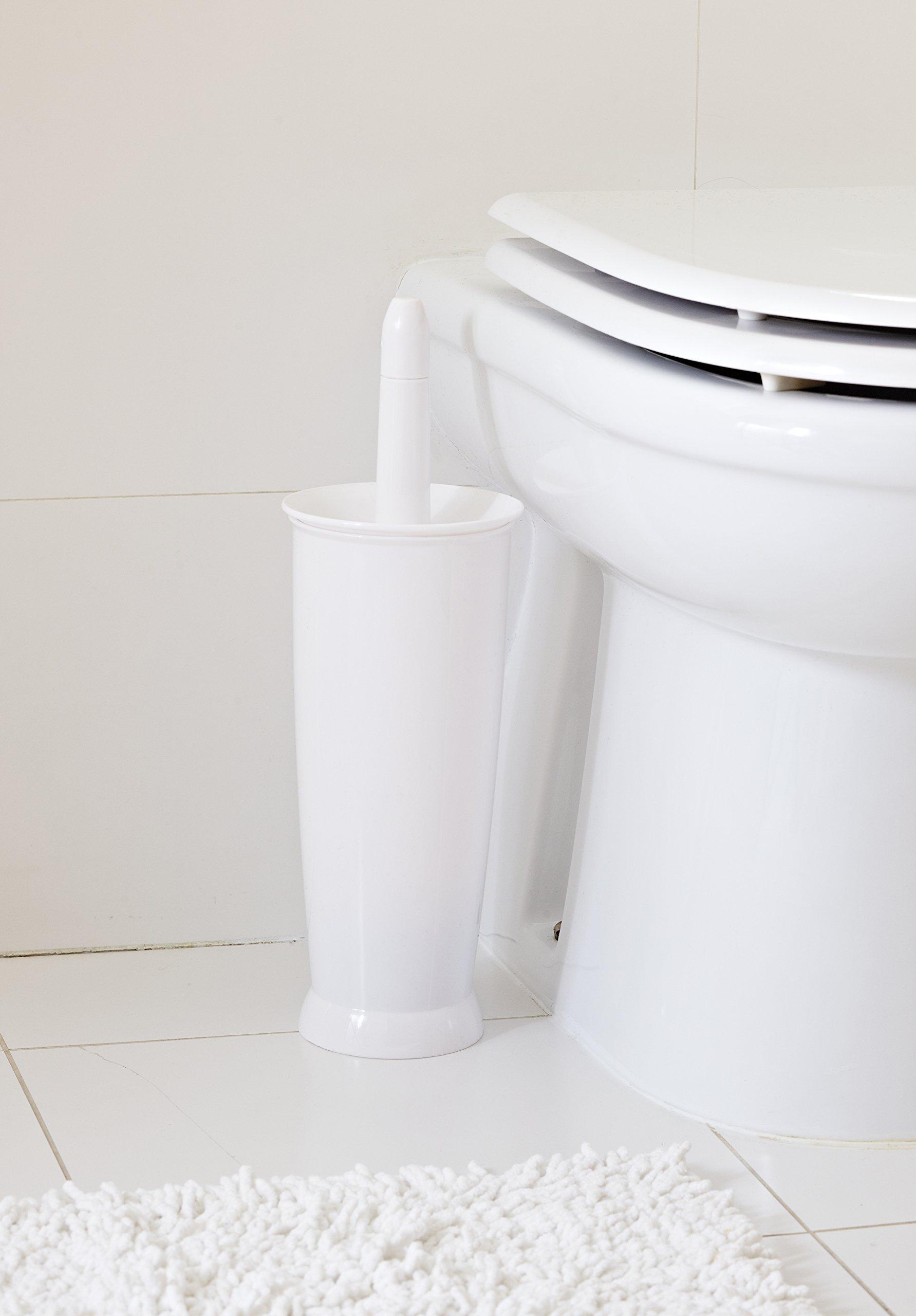 Addis Closed White Plastic Bathroom Toilet Brush And Holder Set ...