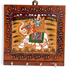 Little India Wooden Carved and Hand Painted 4 Key Stand (300, Brown)