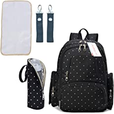 Motherly Stylish Babies Diaper Bags for Mothers with 1 Bottle Bag + 1 Diaper Changing Mat + 1 Set of Stroller Hooks (Black,White Dot)