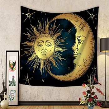 style 6 Tapestry, 150x130 Amknn Tapestry Psychedelic Indian Mandala Bohemian Sun Moon Tapestry Hippie Tapestry Wall Hanging