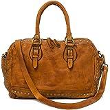 Ira del Valle, bolso de mujer, confeccionado en auténtica piel vintage, Made in Italy, modelo Lima Bag, bolso grande y bandol