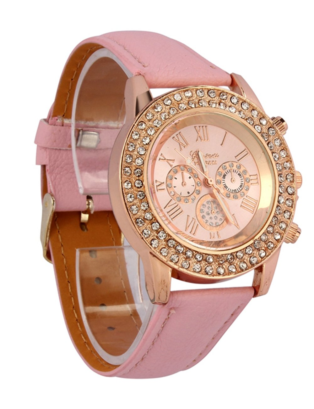 Womens Geneva Quartz Watches Crystal Analog Lady Wrist Watch Female Watches for Women Round Alloy Dial Case Comfortable…