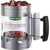 BEAU JARDIN Encendedor de carbón para barbacoa Para encender la parrilla Arrancador Chimenea Chimenea de 28 x 18 cm Plata Chi