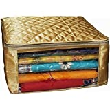 Kuber Industries Saree Cover Large Size Upto 15 Sarees In Golden Satin / Wedding Gift