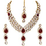 Shining Diva Latest Design 18k Gold Plated Kundan Wedding Party Wear Stylish Necklace Jewellery Set for Women