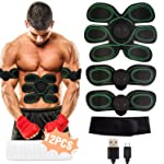 Muscle Stimulator, EMS Abs Trainer Abdominal Belt USB Rechargeable Muscles Toner for Abs Arms Legs with 12PCS Replacement...