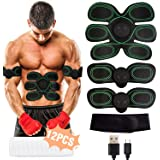 Muscle Stimulator, EMS Abs Trainer Abdominal Belt USB Rechargeable Muscles Toner for Abs Arms Legs with 12PCS Replacement Gel