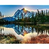 Pintar por números para Adultos Paisajes – Montana y Lago – Pintura para Pintar por números con Pinceles y Colores Brillantes