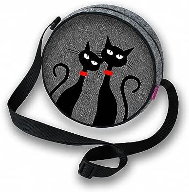 BERTONI Damen Mädchen Tasche Schultertasche Umhängetasche Filztasche Rund Filz Grau