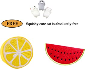 Kawaii Squishy Toys Cute Fruits Super Soft Lemon and Watermelon Scented Stress Reliever Toy for Kids and Adults (Multicolour) - Pack of 3