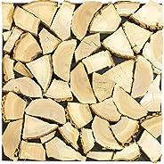 wodewa Kaminholz Deko 3D Wanddekoration Holzscheite 50x50cm Holz Wandverkleidung Echtholz Kamin Dekoration Holzstapel Brennh