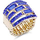 Lavencious 5 Rows Design with Crystals Stretch Rings Statement Rings Free Size for Women