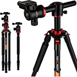 K&F Concept TM2534T Stativ Kamera Reisestativ Fotostativ Kamerastativ Aluminium mit 90 Grad Mittelsäulen Einbeinsativ-Funktion 169cm