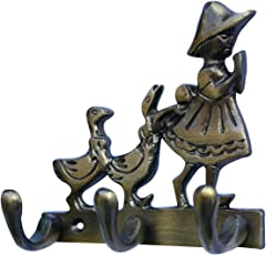 Metaldecor Designer Brass Girl with Duck with 3 Legs Wall Mounted Key Hook, 11x5x10cm (Silver)