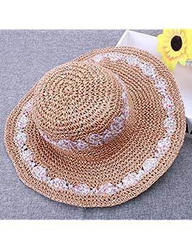 LVLIDAN Sombrero para el sol del verano Lady Anti-Sol Playa sombrero de paja plegable caqui