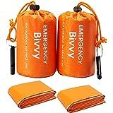 Remebe 2 zakken + 2 survival fluitjes Bivy Bag Emergency Slaapzak Thermische Bivy Gebruik als Emergency Bivy Sack, waterdicht