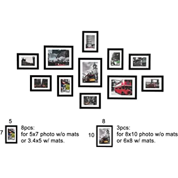 Wood Meets Color Wall Photo Frames Multiple Photos Including White Picture Mats And Installation Instruction Set Of 11 Collage Frames 3 8x10