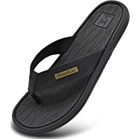 KUAILU Mens Leather Sport Flip Flops Comfort Arch Support Thong Sandals with Soft Insole for Summer Outdoor Beach