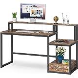 Tribesigns Bureau d'ordinateur, Table Informatique avec étagères & tiroirs en Bois, Table d'étude pour Bureau, Salon, Industr
