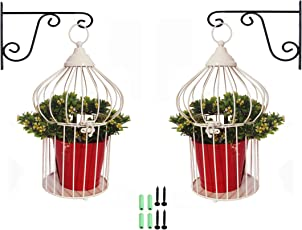 NAYAB (Set of 6) 2 Vintage Ivory Tabletop Decorative Iron Birdcage Plant Stand with 2 Hanging Wall L-Bracket and 2 Metal Pots