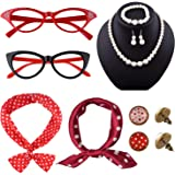 TUPARKA 12 Pezzi Accessori Costume Fascia Anni 50 Donna Include Occhiali Anni 50 Orecchini e Sciarpa a Pois, Fascia per Capel