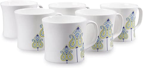 Clay Craft Liza MW Bone China Coffee Mug Set, 150ml, Set of 6, Multicolour (CM-LIZA-MW-J046)