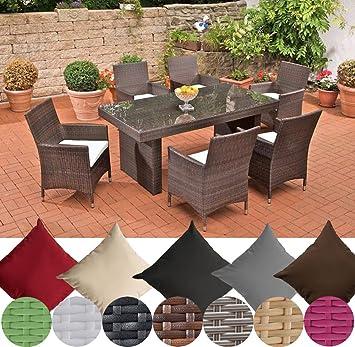 CLP Salon de jardin AVIGNON résine tressée (table 180 x 90 cm x 6 ...