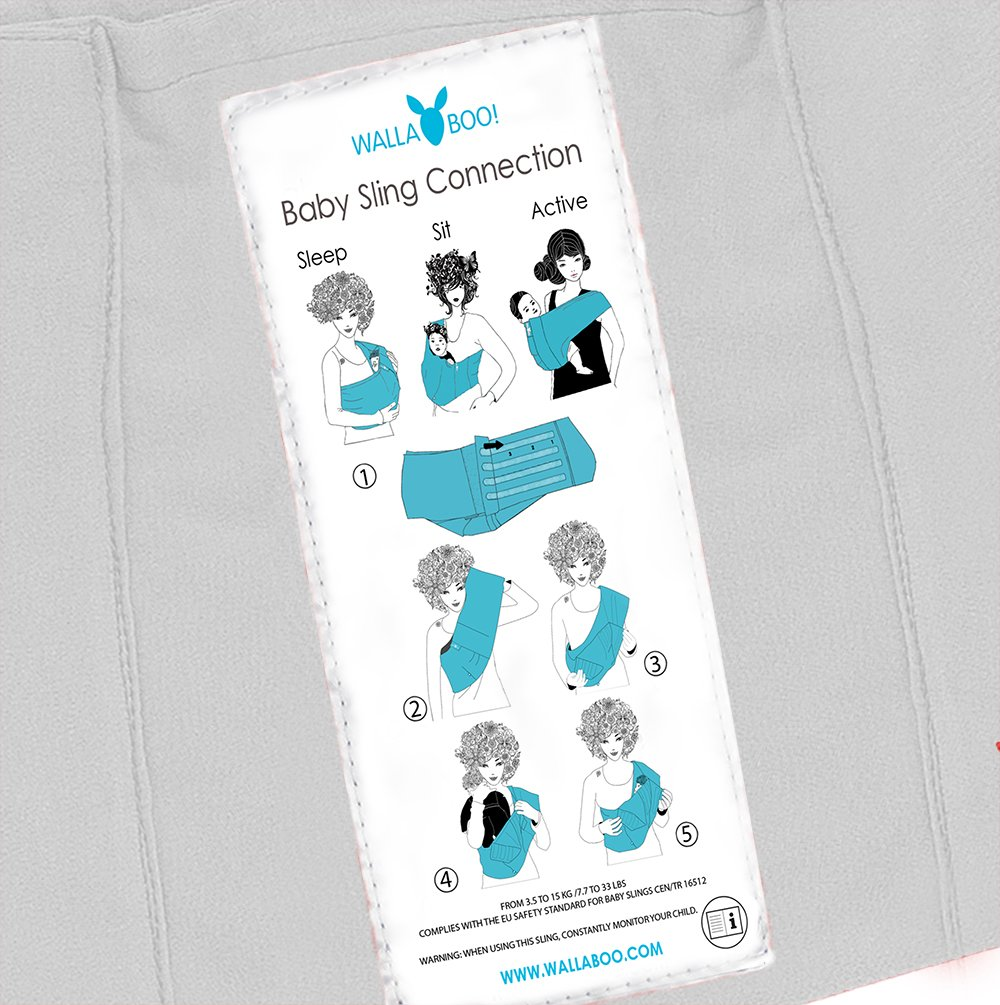 Wallaboo Wrap Sling Carrier Connection, Easy Adjustable, Ergonomic, 3 Carrying Positions, Newborn 8lbs to 33 lbs, Soft Breathable Cotton, 3 Sitting Positions, EU Safety Tested, Color: Silver  Wallaboo