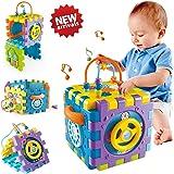 Jouet Bébé 6-18 mois Cube d'Activité, Centre de Jeu Multifonctionnel 6-en-1 avec Musique Trieur de Forme Couleur Perles Labyr