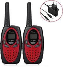 Peboxing Walkie Talkie Bambini, Ricetrasmittente 8 Canali con Dispaly LCD ,Funzione VOX, Gamma 3KM, 10 Toni ,Two-Way Radio (rosso)