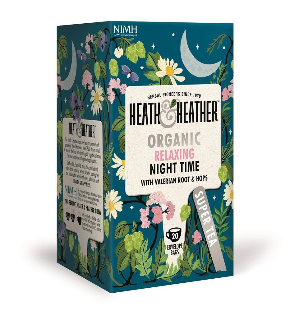 Heath & Heather health tea tea bundle (soil association) (infusions) (6 packs of 20 bags) (120 bags) (a floral tea with aromas of camomile, hop, valerian) (brews in 3-5 minutes)