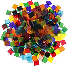 Non-Brand 250 Piece Square Assorted Color Clear Glass Mosaic Tiles for Mosaic Making Crafts 10x10mm