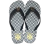 Tory Burch Isidro Flip Flops Shoes Sandals Flat Rubber (Black-White)