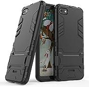 TecKraft RedMi6AArmrBlk_TK Armour Bumper Kickstand Hard Back Cover Case for Redmi 6A (Black)