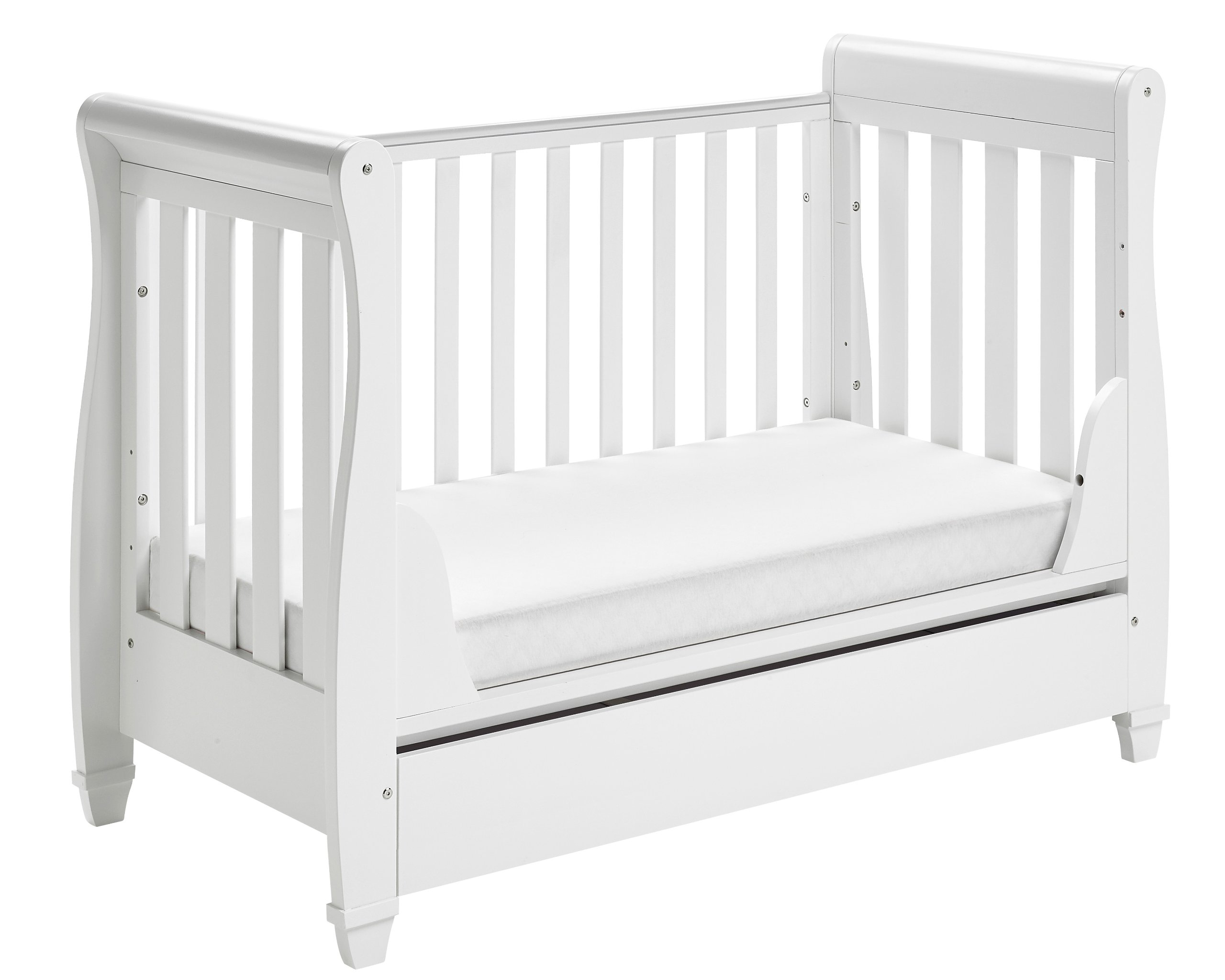 Babymore Eva Sleigh Cot Bed Dropside with Drawer (White Finish) + FOAM MATTRESS  Easily convert to junior bed/sofa/day bed, Meet British and European safety standards; Single handed drop side mechanism allow easy access to your baby Protective Teething rail on top of both sides. Full drawer on runner provide extra storage 7