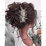 Unicra - Cerchietto per capelli da sposa, con perle argentate, con strass, accessorio per capelli per damigella d'onore e don