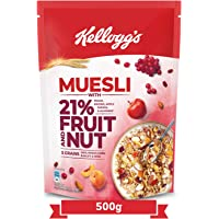 Kellogg's Muesli 21% Fruit and Nut , Breakfast Cereal , High in Iron, Source of Fibre , Naturally Cholesterol Free…