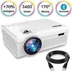BIGASUO Bluetooth Beamer, LED 2400 Lumen Mini HD Heimkino Projektor Unterstützung 1080P Video HDMI VGA Installation für Smartphone, iPhone, iPad, Laptop