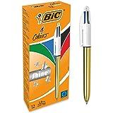 BIC 4 Couleurs Shine Stylos-Bille Rétractables Pointe Moyenne (1,0 mm) - Corps Doré Métallisé, Boîte de 12