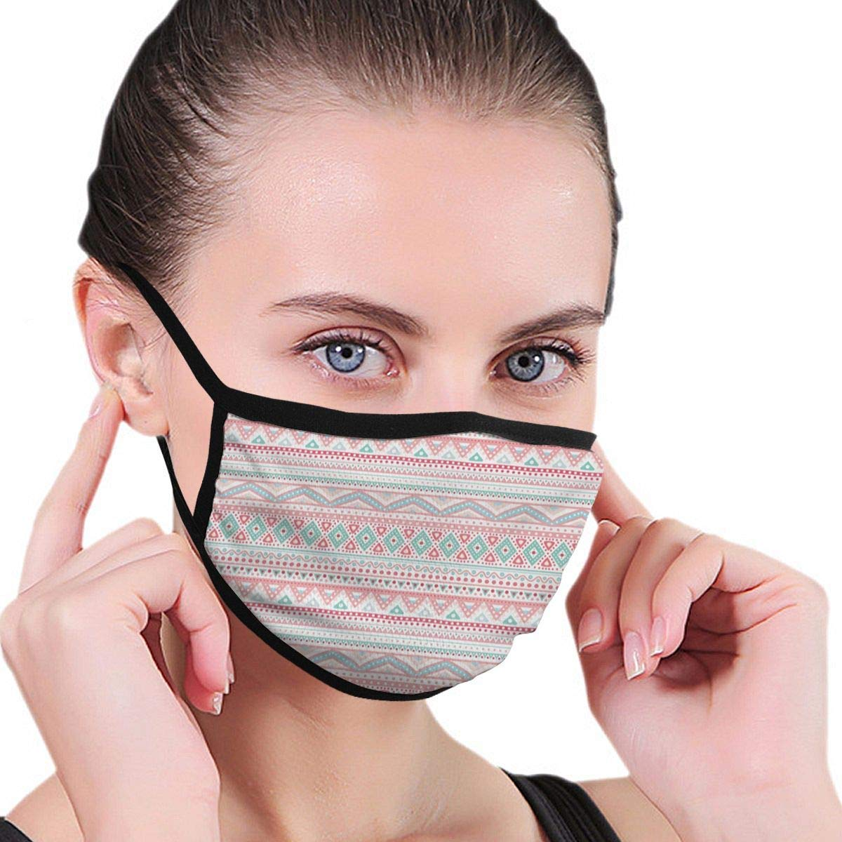 Bdwuhs Mascarillas Bucales and-Drawn Tribal Aztec Symbols In Pastel Colors White Background Ethnic Illustration Unisex Anti-Dust Face Mouth Mask For Teens Men Women, Windproof Motorcycle Face Emot